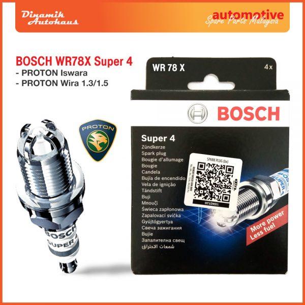 Proton Car Spark Plug Bosch WR78X Super 4 - Automotive Spare Parts Malaysia