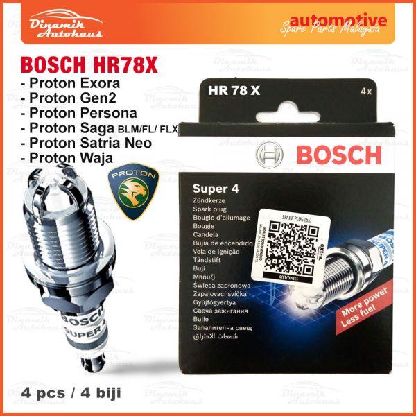 Proton Exora Gen2 Persona Saga Satria-Neo Waja Car Campro Engine Spark Plug Bosch HR78X 01 | Automotive Spare Parts Malaysia